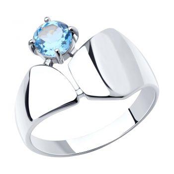 елегантен сребърен пръстен, син топаз, родиево покритие, Sokolov