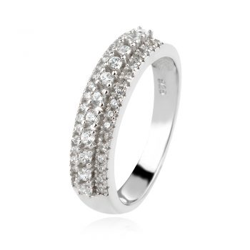 нежен сребърен пръстен, пръстен тип халка, цирконий, родиево покритие,