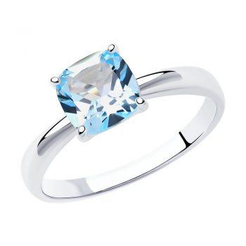стилен сребърен пръстен, син топаз, родиево покритие, Sokolov