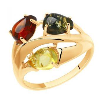 елегантен сребърен пръстен, три цвята кехлибар, розова позлата, Sokolov