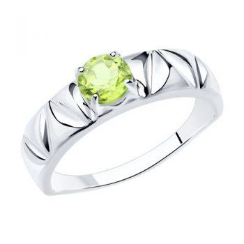 елегантен сребърен пръстен, пръстен тип халка, хризолит, родиево покритие, Sokolov
