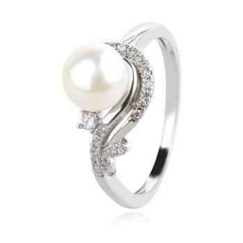 нежен сребърен пръстен, флорални мотиви, бяла перла, цирконий, родиево покритие,
