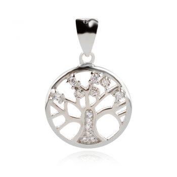 нежен сребърен медальон, дървото на живота, цирконий, родиево покритие