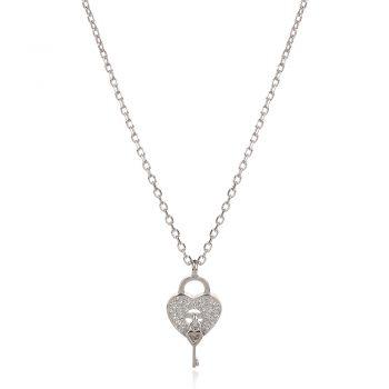 нежно сребърно колие, ключ сърце, катинарче, цирконий, родиево покритие