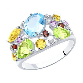 елегантен сребърен пръстен, естествени камъни, цирконий, родиево покритие, Sokolov