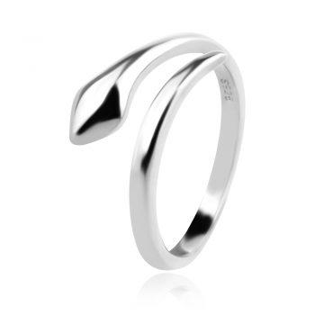 сребърен пръстен, пръстен змия, без камък, родиево покритие