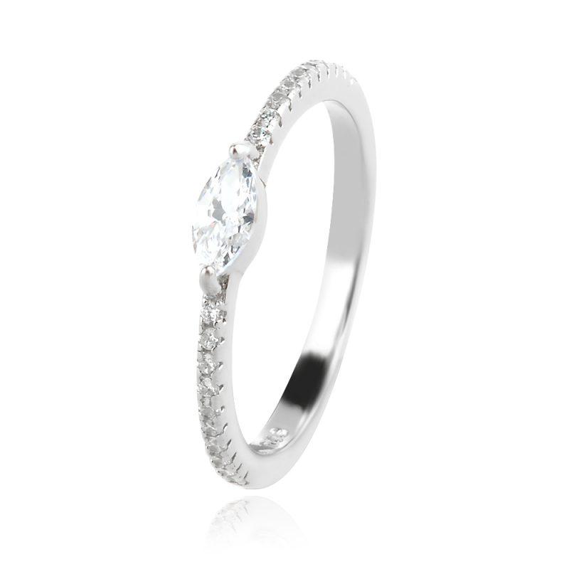 нежен сребърен пръстен, цирконий, родиево покритие,