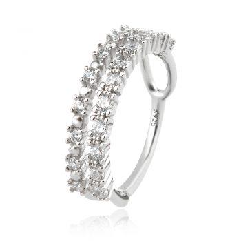 сребърен пръстен, тип халка, цирконий, родиево покритие,