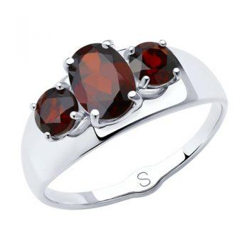 сребърен пръстен, тип халка, гранат, родиево покритие, Sokolov