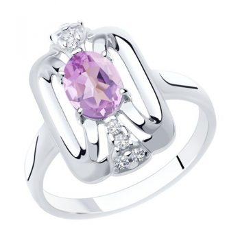 елегантен сребърен пръстен, аметист, цирконий, родиево покритие, Sokolov