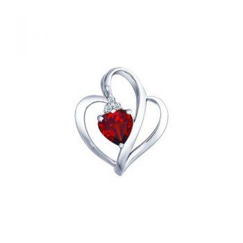 нежен сребърен медальон, гранат, сърце, цирконий, родиево покритие, Sokolov
