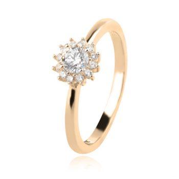 нежен сребърен пръстен, цирконий, блясък, розова позлата,