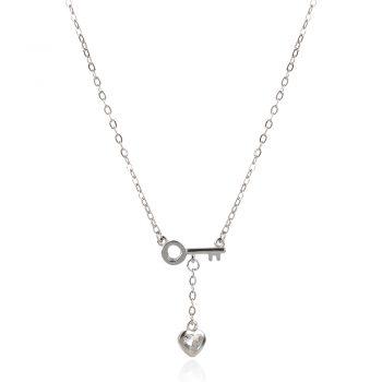 нежно сребърно колие, ключ, сърце, цирконий, родиево покритие,