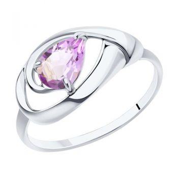 елегантен сребърен пръстен, аметист, родиево покритие, Sokolov