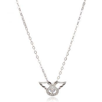 нежно сребърно колие, ангелски криле, цирконий, родиево покритие,