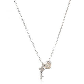 нежно сребърно колие, сърце, ключ, цирконий, родиево покритие,