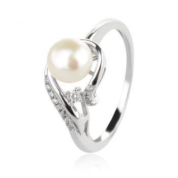 нежен сребърен пръстен, нежен сребърен пръстен, бяла перла, цирконий, родиево покритие,