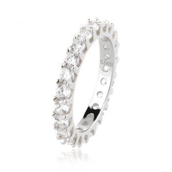елегантен сребърен пръстен, пръстен тип халка, цирконий, родиево покритие