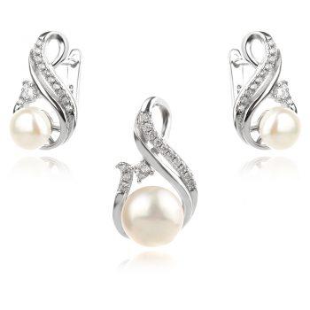сребърен комплект с перли