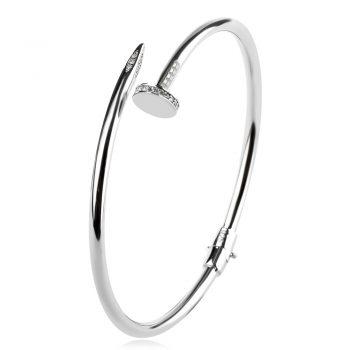 сребърна твърда гривна, родиево покритие, цирконий, по модел на Cartier,